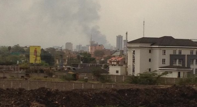 Smoke rising from the Westgate Mall area in Nairobi, Kenya, after the September 2013 attacks—photo by Kul Wadhwa